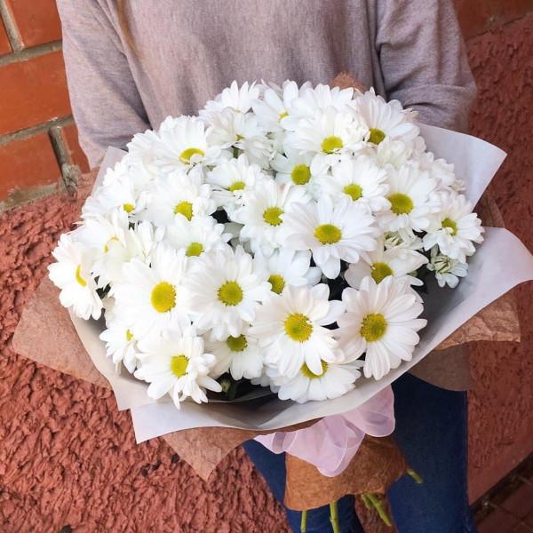 Букет №3  из 9 белых кустовых хризантем